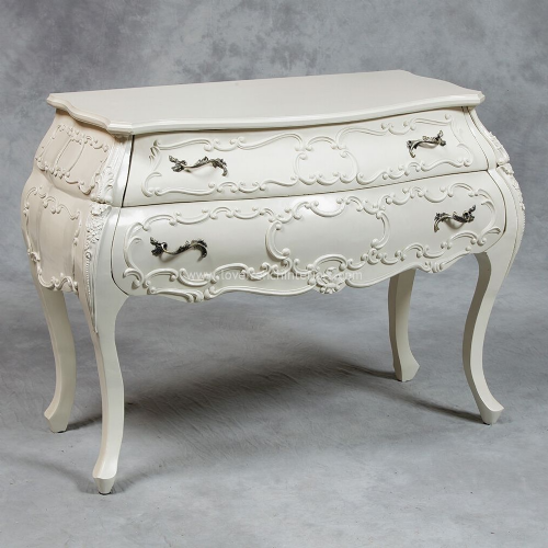 Bow Fronted Bombe Chest in Cream
